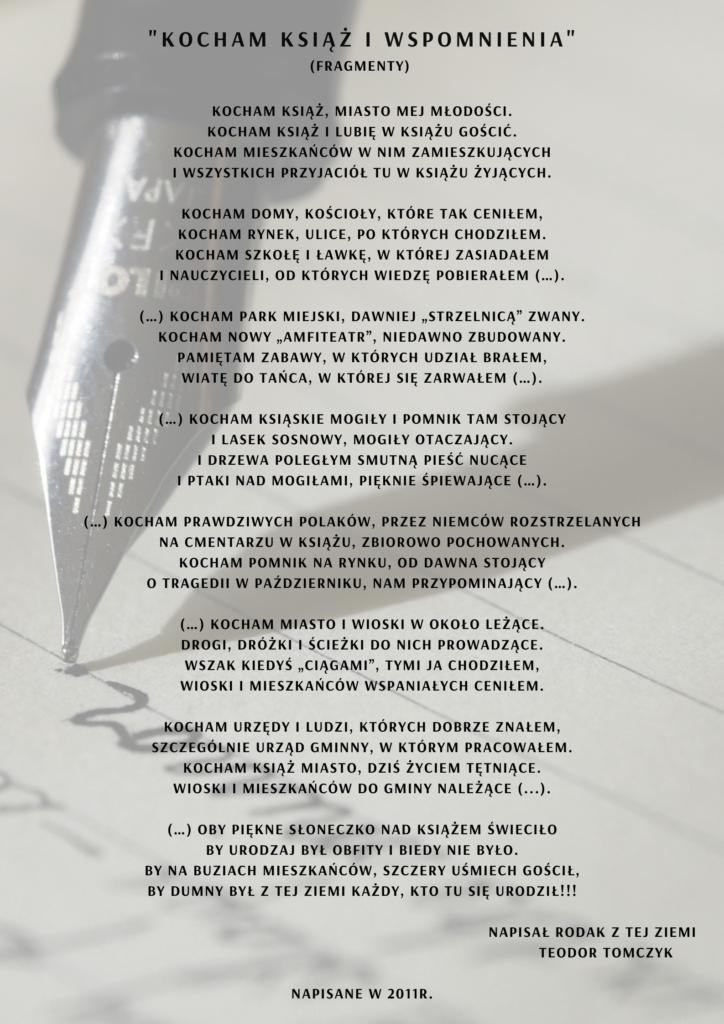 Na obrazku jest pióro do pisania i fragmenty wiersza