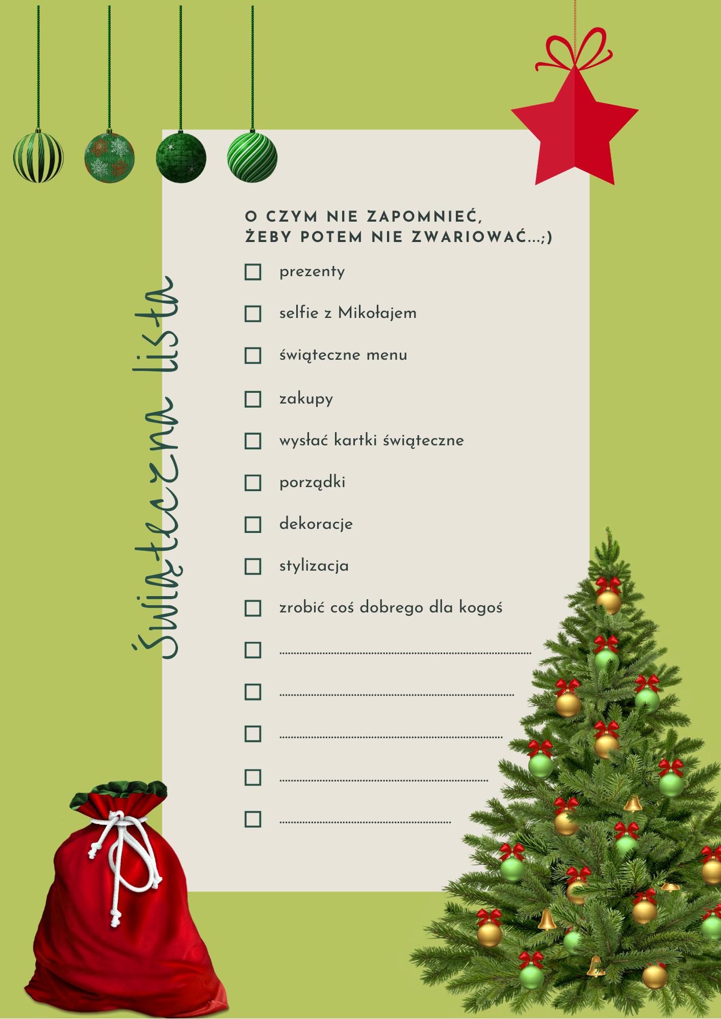 na obrazku znajdują się choinka i świąteczne ozdoby oraz worek na prezenty i lista rzeczy do załatwienia