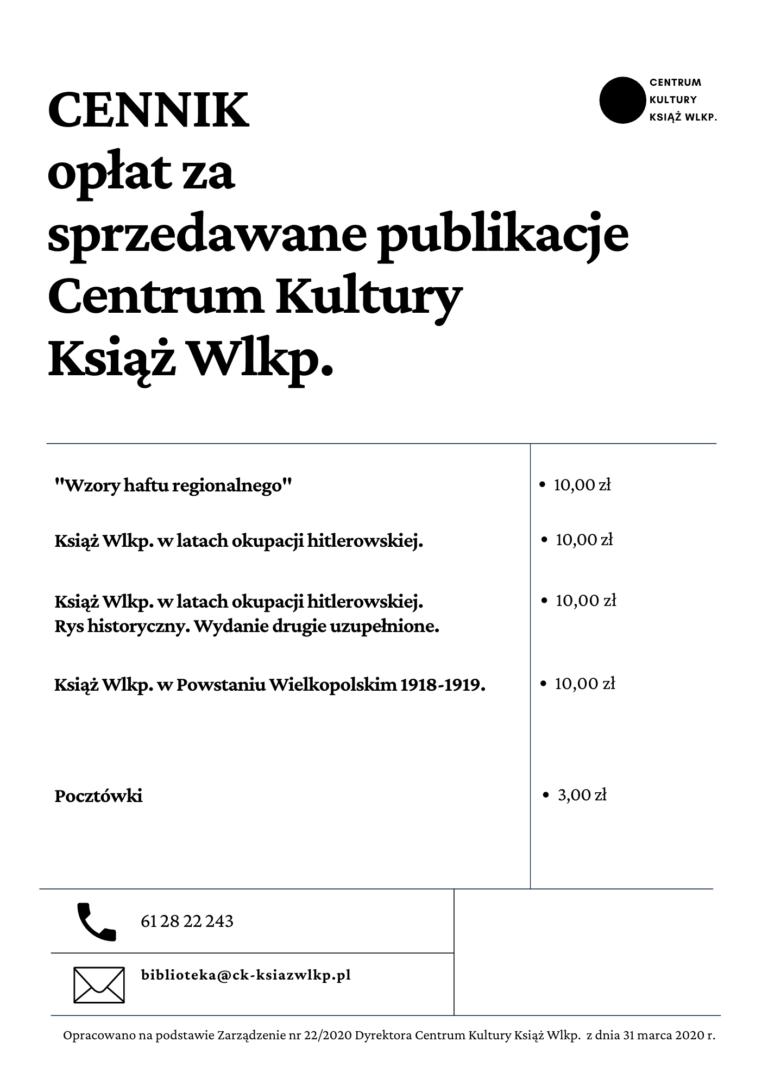Na obrazku znajduje się logo Centrum Kultury Książ Wlkp. i cennik publikacji