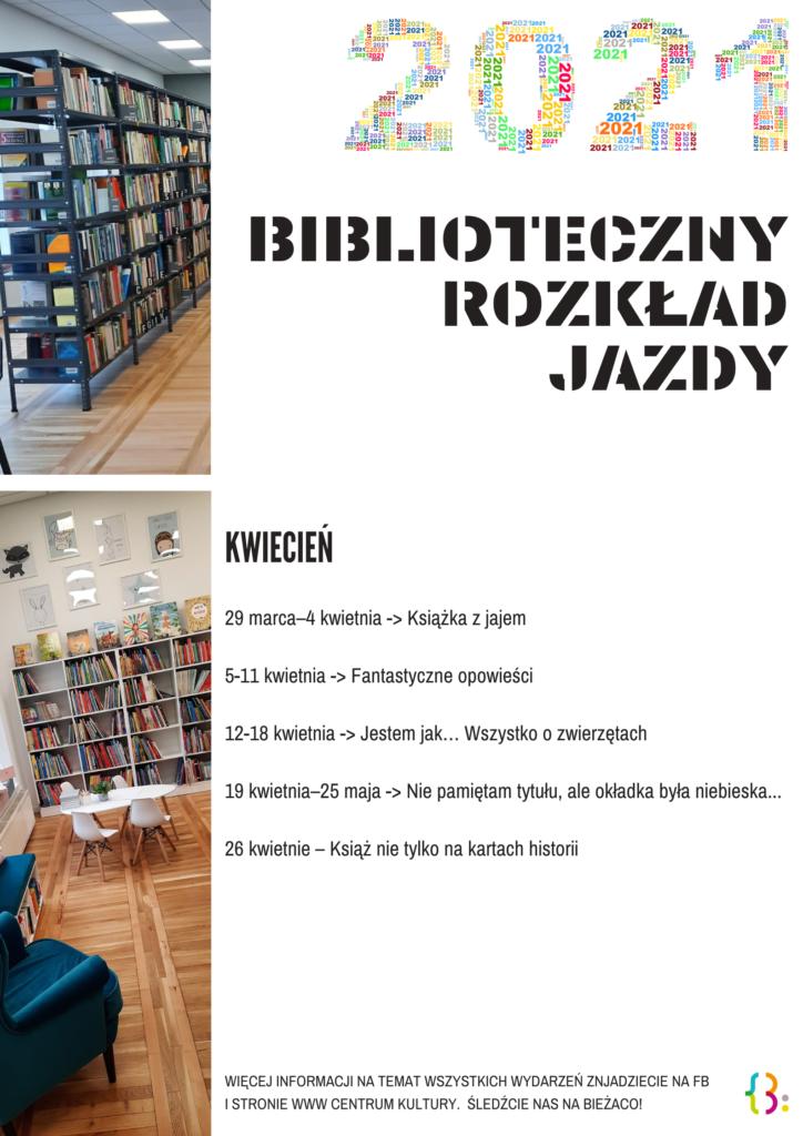 Na obrazku znajdują się wnętrza biblioteki i tekst